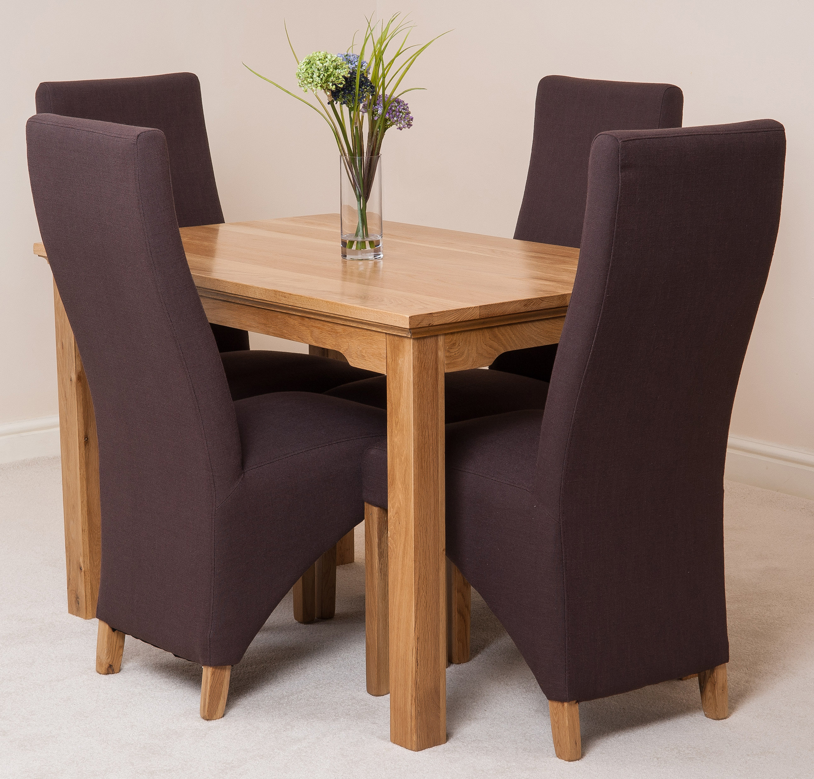 Aspen solid oak 120cm dining table 4 lola fabric curved for 120 dining table sets