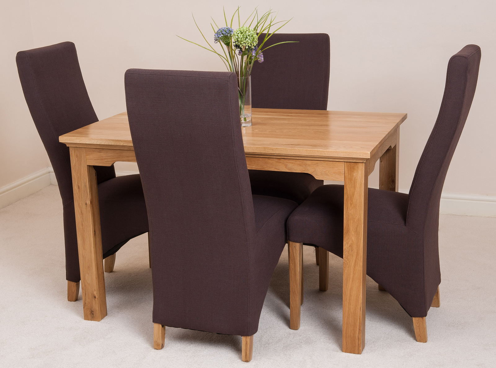 Aspen solid oak 120cm dining table 4 lola fabric curved for 120cm dining table with 4 chairs