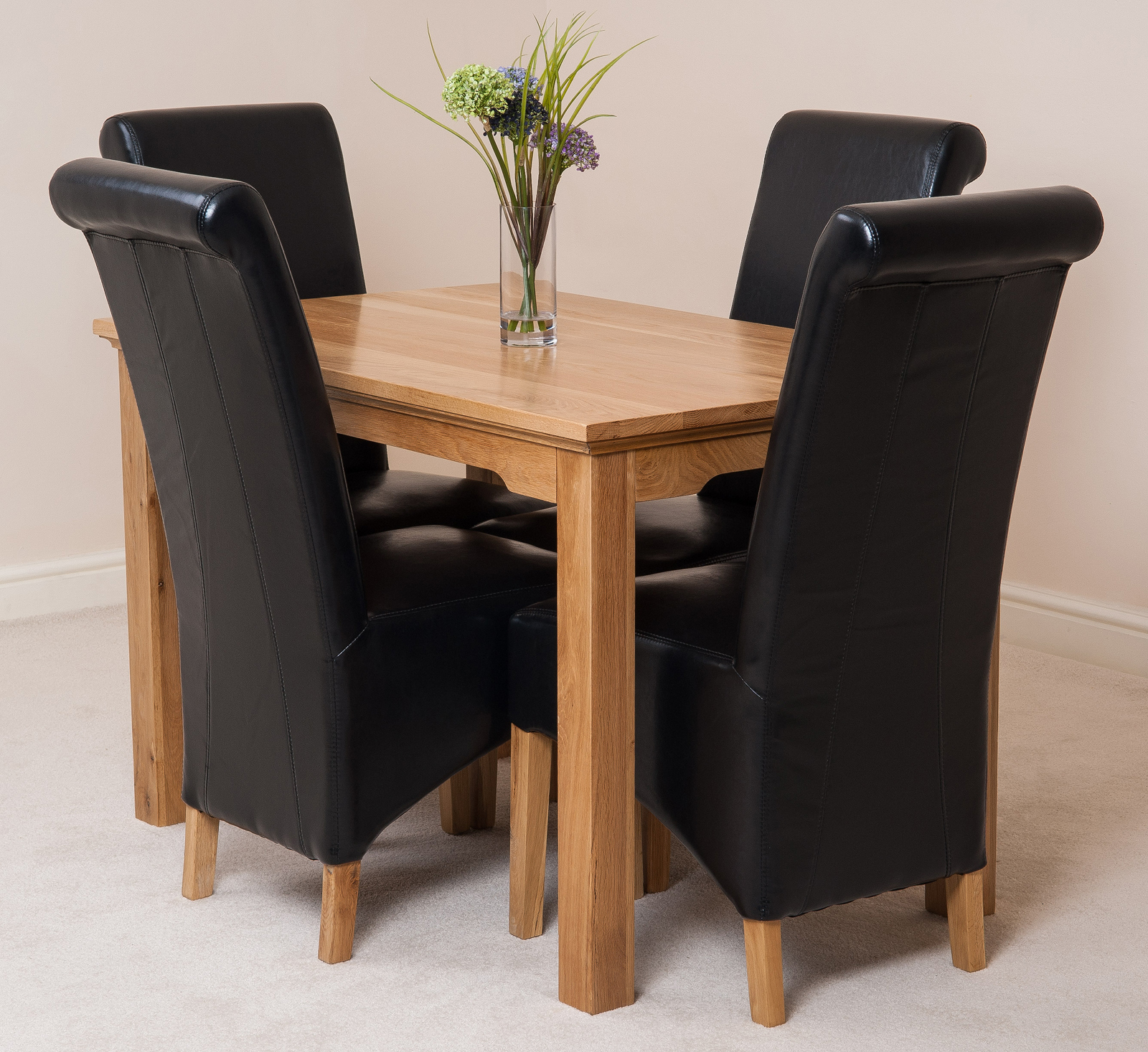 Aspen solid oak 120cm dining table 4 montana leather for 120cm dining table with 4 chairs