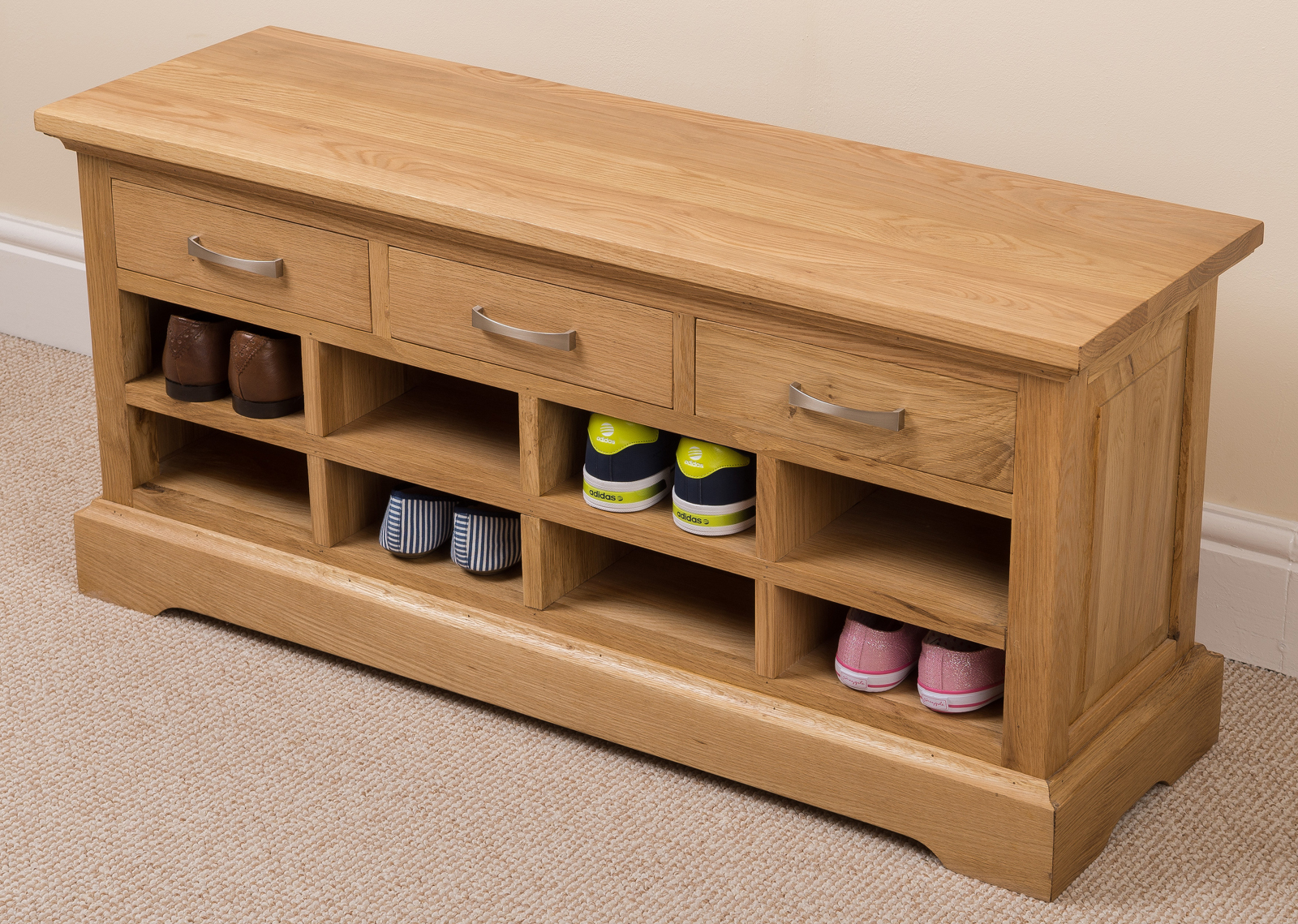 Aspen 100 Solid Oak Wood 3 Drawer Shoe Bench Rack Hallway Furniture Ebay