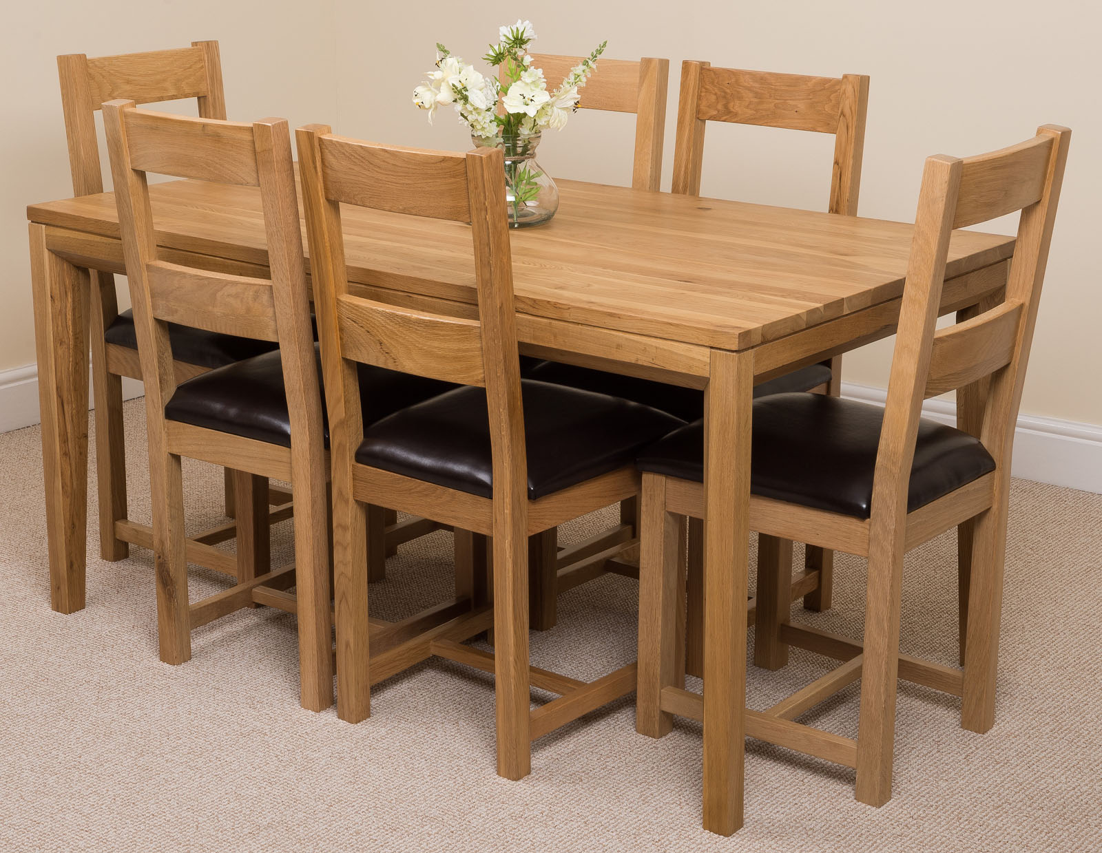 150 solid oak dining table with 4 or 6 lincoln chairs dining furniture