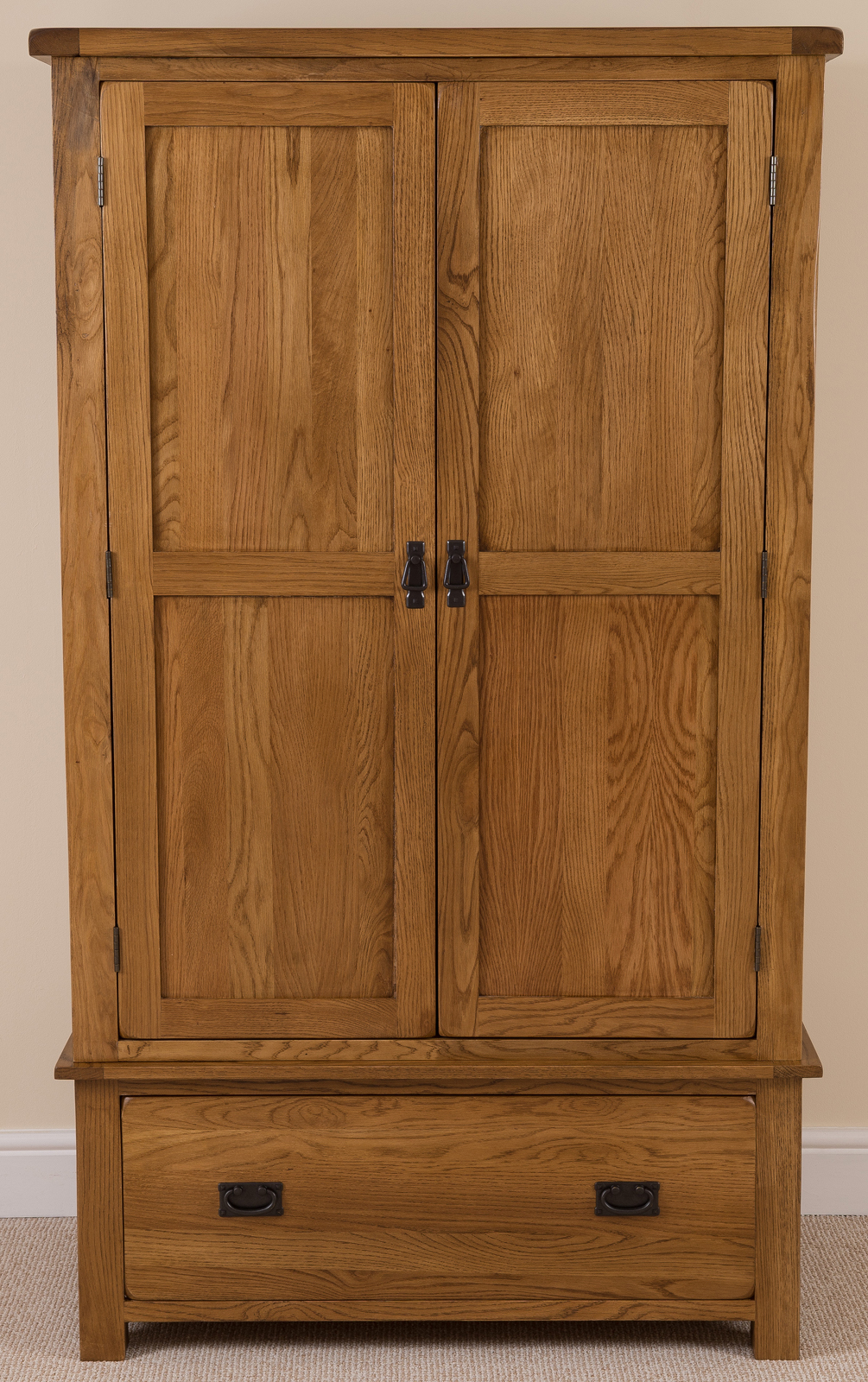 oak double wardrobe with drawer new rustic bedroom furniture ebay