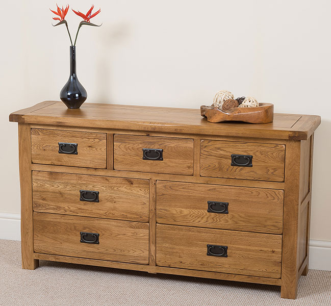 COTSWOLD RUSTIC SOLID OAK 7 DRAWER CHEST FURNITURE BEDROOM NEW EBay