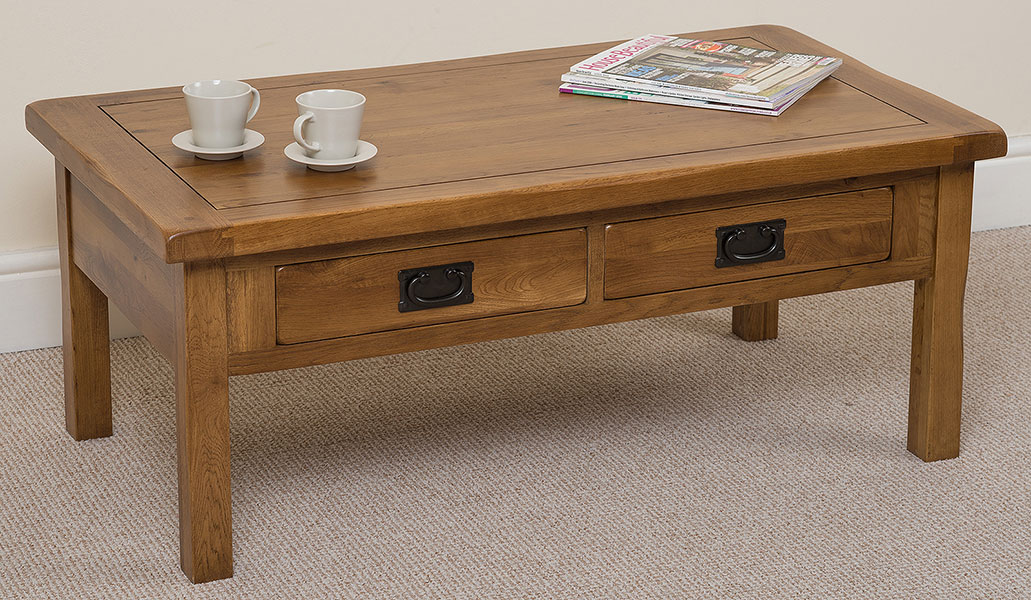 Cotswold Rustic Solid Oak 4 Drawer Coffee Table Wooden Living Room Furniture Ebay