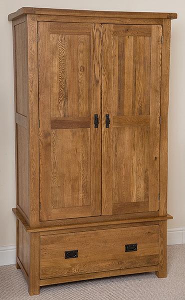 oak 2 door 1 drawer double storage wardrobe bedroom furniture ebay