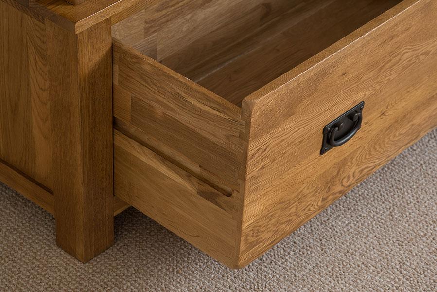 Cotswold Solid Oak 2 Door 1 Drawer Double Storage Wardrobe Bedroom Furniture