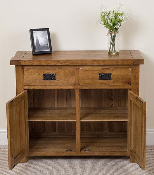 Cotswold Solid Oak Small Sideboard Cabinet 2 Door 2 Drawer Storage Unit Bedroom eBay