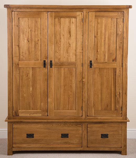 Cotswold Rustic Solid Oak Wood 3 Door 2 Drawer Triple ...
