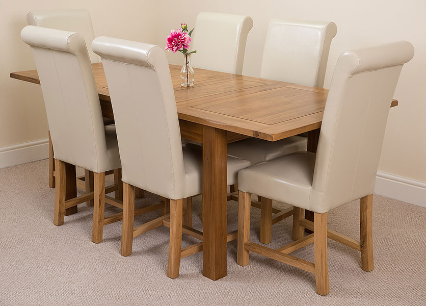 rustic solid oak 132 dining table with 4 or 6 washington dining chairs