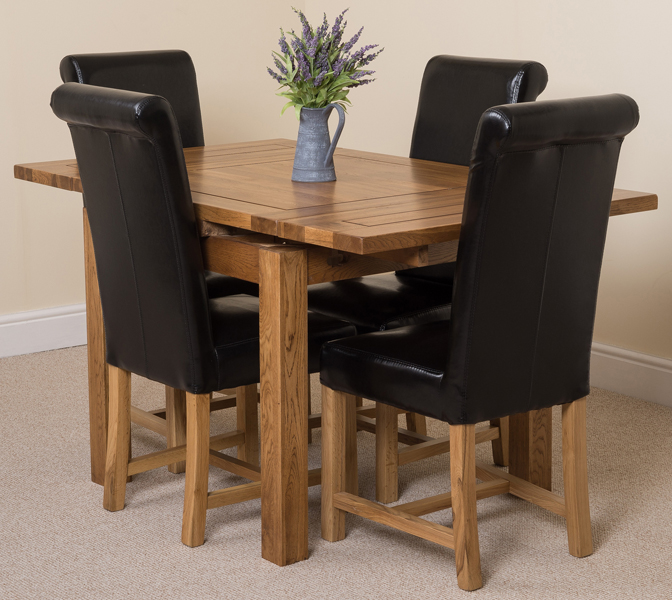 COTSWOLD RUSIC SOLID OAK 90 EXTENDING DINING TABLE WITH 4  : cotswold90ext4wahingtonblack1 from ebay.co.uk size 672 x 600 jpeg 295kB