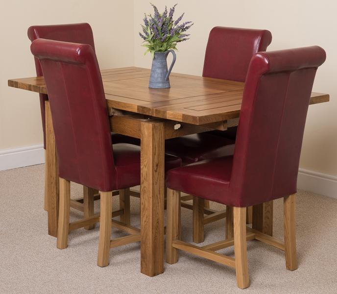 COTSWOLD RUSIC SOLID OAK 90 EXTENDING DINING TABLE WITH 4  : cotswold90ext4wahingtonburgundy1 from ebay.co.uk size 688 x 600 jpeg 310kB