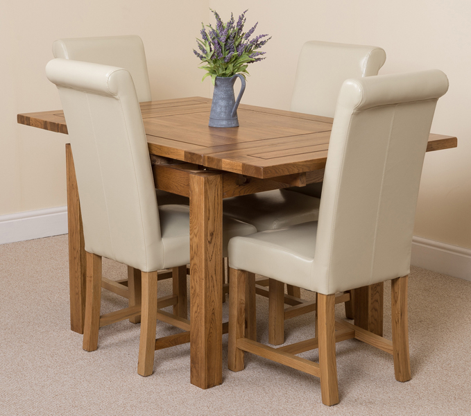 COTSWOLD RUSIC SOLID OAK 90 EXTENDING DINING TABLE WITH 4  : cotswold90ext4wahingtonivory1 from ebay.co.uk size 679 x 600 jpeg 288kB