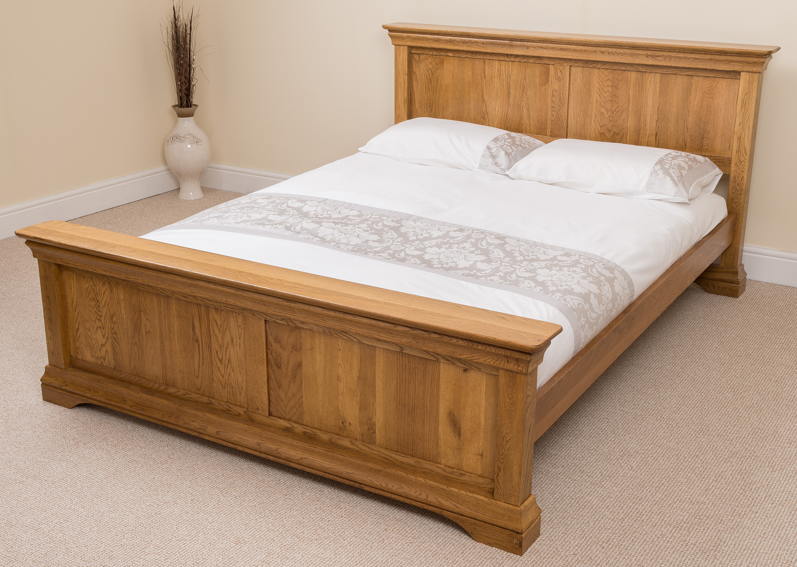 French rustic solid oak wood double bed frame bedroom Rustic bed frames