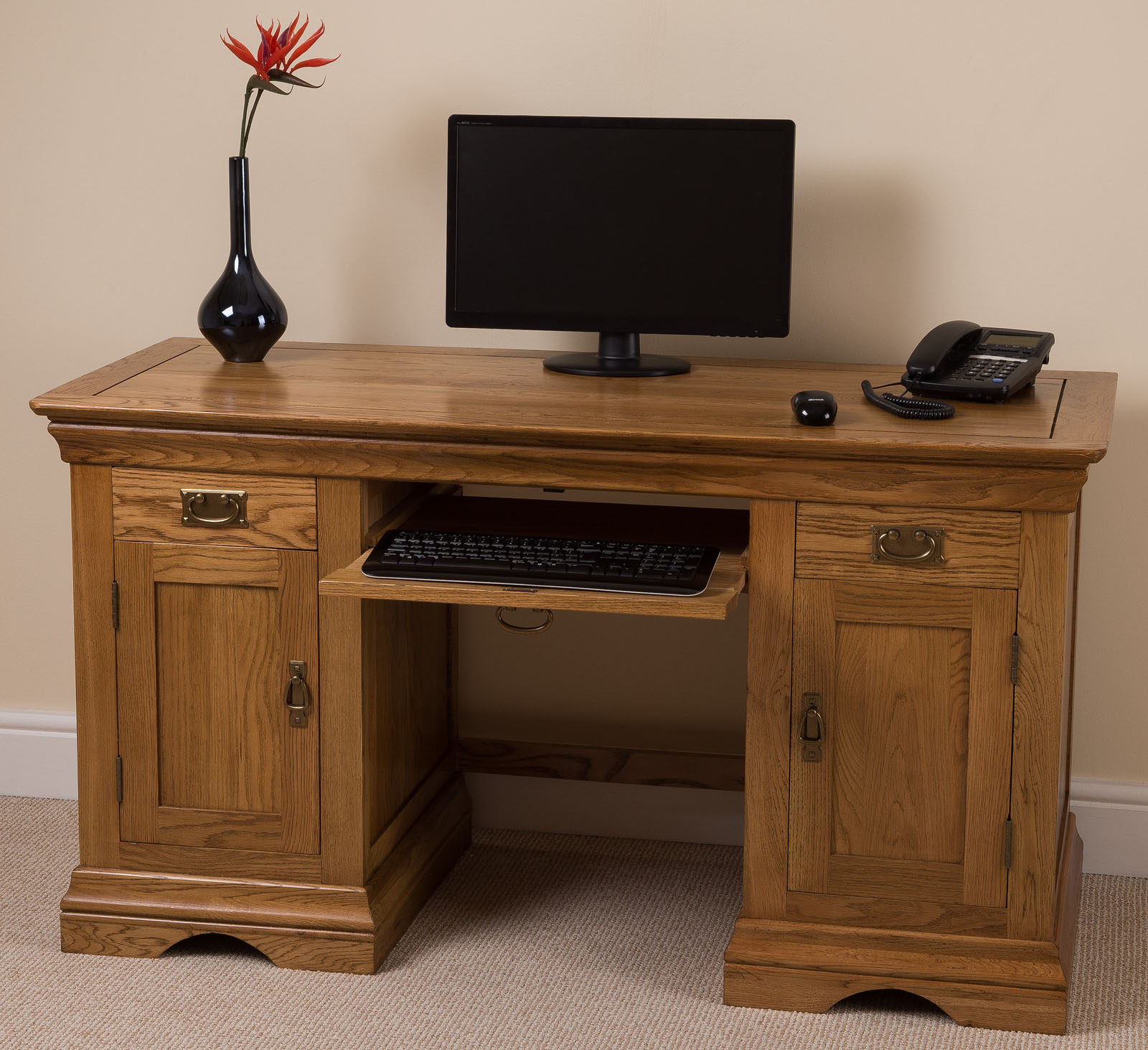 SOLID OAK LARGE COMPUTER DESK OFFICE STUDIO UNIT FURNITURE | eBay