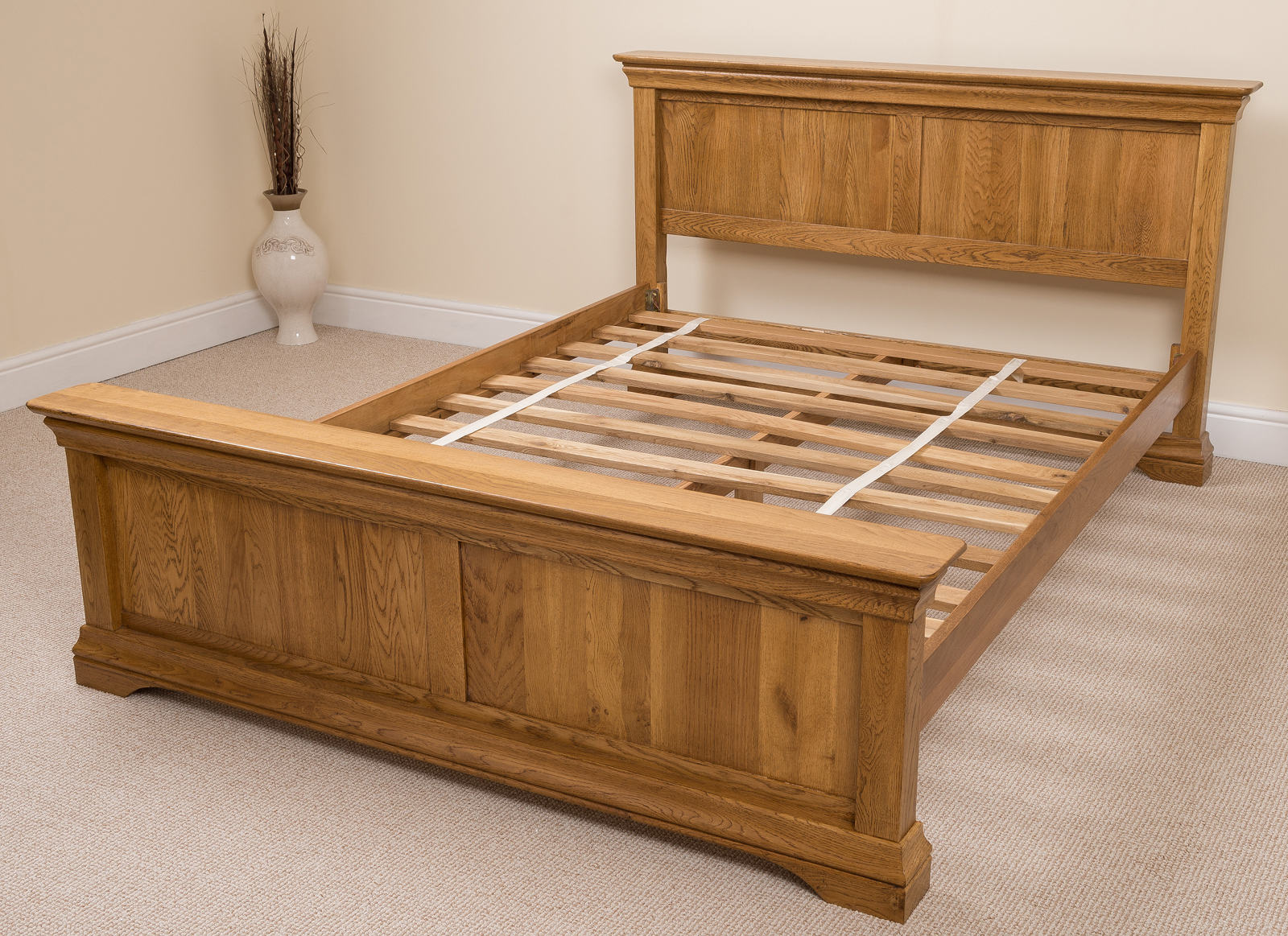 French rustic solid oak wood super king size bed frame for King size bed frame