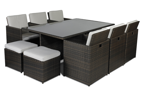 Savannah 8 or 10 seater rattan garden furniture set for 10 seater table and chairs