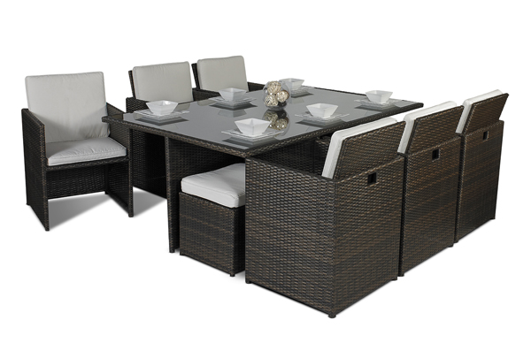 Savannah 8 or 10 seater rattan garden furniture set for 10 seater dining table uk