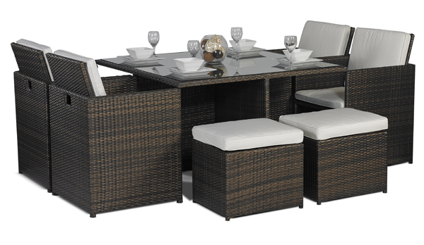 SAVANNAH 8 OR 10 SEATER RATTAN GARDEN FURNITURE SET OUTDOOR DINING .