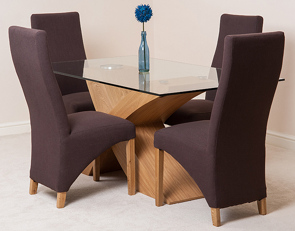 VALENCIA OAK 160cm GLASS DINING TABLE WITH 4 OR 6 LOLA